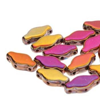15 NAVETTE 6X12MM SLIPERIT  Czech Glass 3 hole Beads