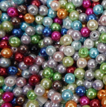 50 Grams Mix 8mm Round Loose Glass Pearl Beads approx 70 beads
