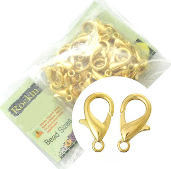48 Gold Plated Lobster Claw Jewelry Findings Clasps 12x21mm,
