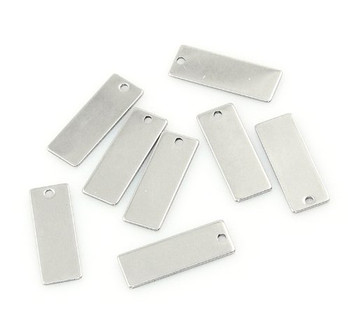 "20 304 Stainless Steel Dye Stamping Engraving Blanks Tags Rectangle 25mmx9mm (1""x 3/8"") Rb22464"