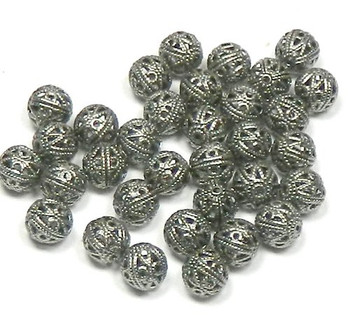 100 Open Weave 6mm Beads Antiqued Silver-Plated Brass Round Spacer Metal Bead 100 8244Mb