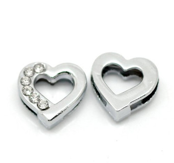 Heart Rhinestone Antiqued Silver Slide on Charm Beads 13mm, 20