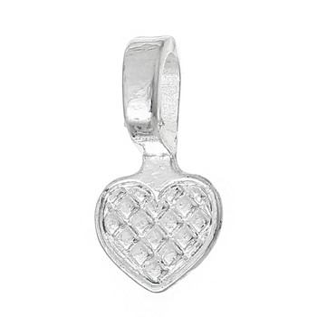 200 Glue On Heart Bails Pendant Hanger Silver Plated 16x8mm Rb61626