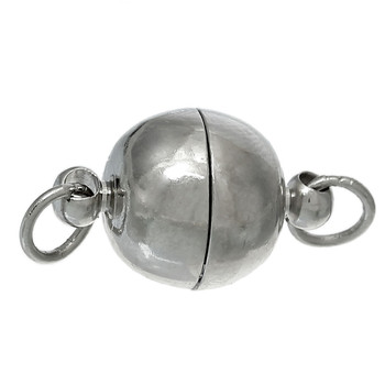 1pc inc Based Alloy & Magnetic Hematite Magnetic Clasps Round Silver Tone 25X10mm
