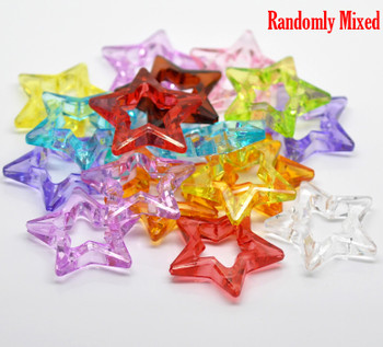 "LIMIT Transparent Acrylic Beads Pentagram Star About 1 3/8""  Hole: Approx 1.8mm, 80 PCs"