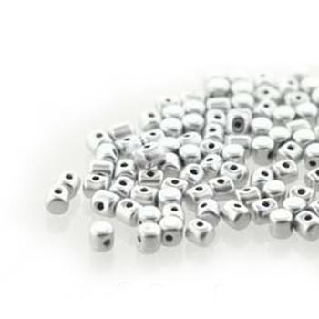 Silver Aluminum Matte Minos Par Puca 2 5x3mm Cylinder Glass Beads 5Gr Hp-Mns253-00030-01700-5G
