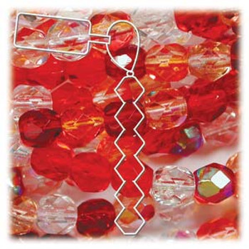 Strawberry Czech 4mm Faceted Round FirePolished Glass 38 Beads FPR04Mix05