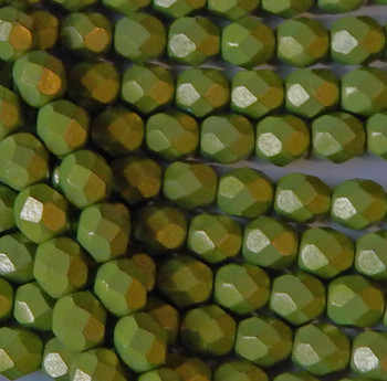Saturated Metallic Lime Punch 24 Beads 6mm FirePolished Faceted Czech Glass
