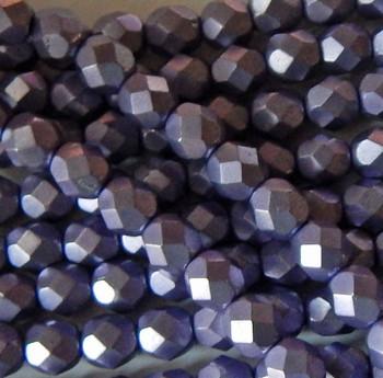 Saturated Metallic Crocus Petal 24 Beads 6mm FirePolished Faceted Czech Glass