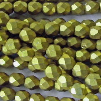 : ColorTrends: Saturated Metallic Limelight 24 Beads 6mm FirePolished Faceted Czech Glass
