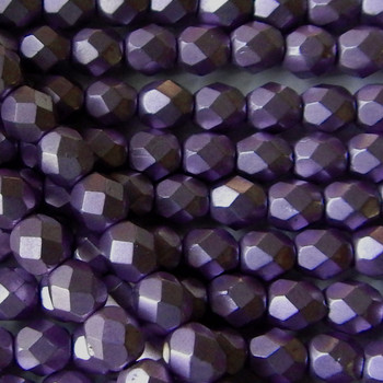 ColorTrends: Saturated Metallic Grapeade 24 Beads 6mm FirePolished Faceted Czech Glass