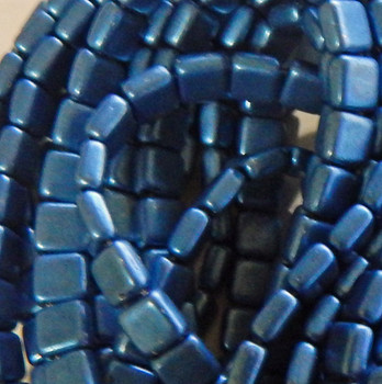50pc ColorTrends: Saturated Metallic Little Boy Blue Tile Beads 6mm Square Glass Czech Two Hole