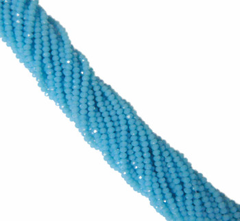 Aqua Alabaser Faceted 4mm Rondelle Beads 120 Piece Luster Glass Beads B1-Uc1B6