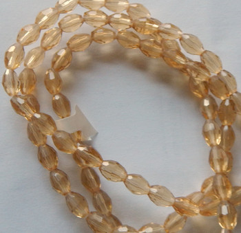 Champain Faceted 6x8mm Rice Oval Beads 60 Piece Luster Glass Crystal Beads