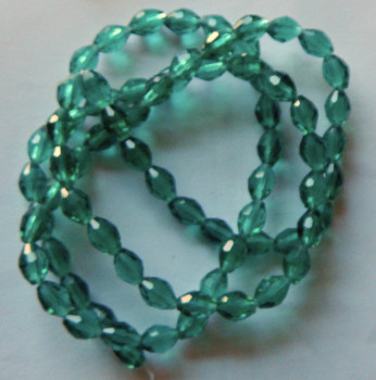 Teal Faceted 4x6mm Rice Oval Beads 60 Piece Luster Glass Crystal Beads