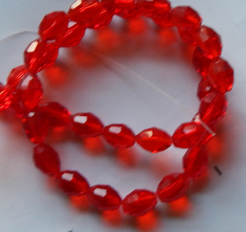 Red Faceted 8x10mm Rice Oval Beads 35 Piece Luster Glass Crystal Beads