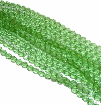 24 FirePolished Faceted Czech Glass Beads 8mm Peridot 5050
