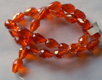 Orange Faceted 8x10mm Rice Oval Beads 28 Piece Luster Glass Crystal Beads