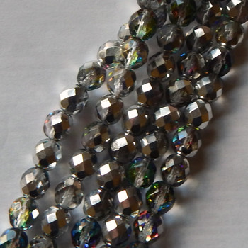 25 FirePolished Faceted Czech Glass Beads 6mm Vitrail lights