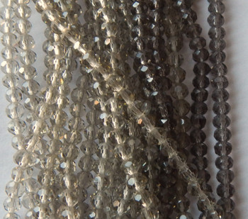 4mm Roundell to Rounded Rondelle Beads 15 in strand Smoke Glass Crystal Beads