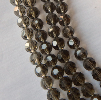 10mm Faceted Round Smoke  Beads 49 beads Glass Crystal Beads