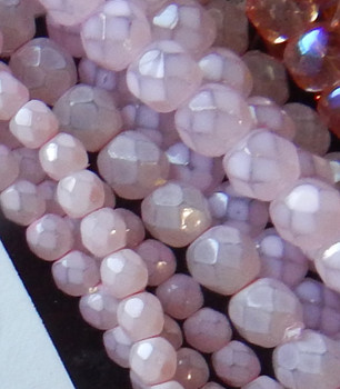 25 FirePolished Faceted Czech Glass Beads 6mm Milky Pink