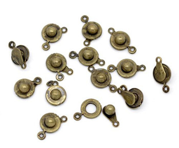 50 Antiqued Brass Plated Ball Socket Findings Clasps 18x10mm 50Pc Rb09620