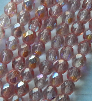 25 FirePolished Faceted Czech Glass Beads 6mm Rosy Peach