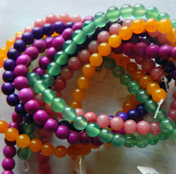 6mm Mix Round Beads 5 strands 14- 15 inch stone & glass