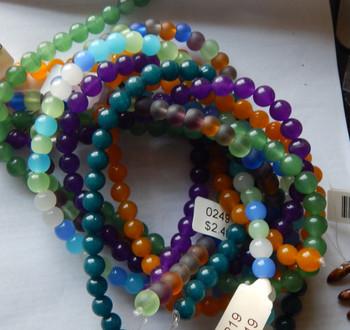 6mm Mix Round Beads 5 strands 14- 15 inch stone & glass 3