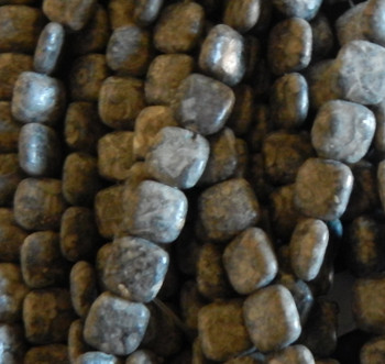 12mm Puffed Square Fossel Stone Beads 15 inch
