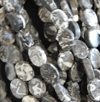 "14x20mm Flat Oval Grey Marble Stone Beads b grade 15.5"""