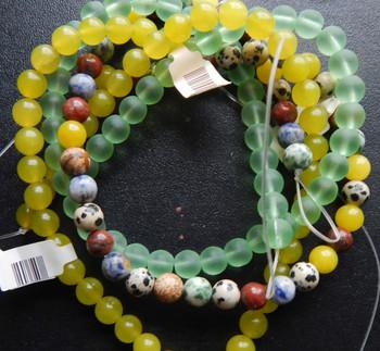 8mm Mix Round Beads 3 strands 14- 15 inch stone & glass c