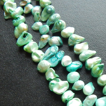 6 to 8mm W Lenght aver 12mm Top Drill green to blue  Baroque Flaired Pearls Beads d grade 15 inch loose strand