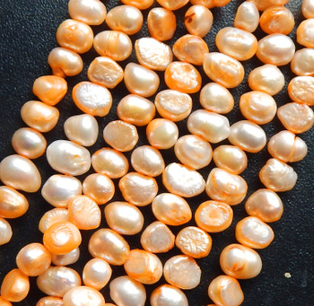 7-10mm Peach Baroque Potato Pearls Beads d grade 15 inch loose strand