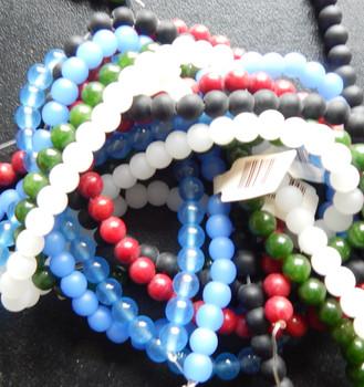 6mm Mix Round Beads 6 strands 14- 15 inch stone & glass