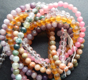 6mm Mix Round Beads 6 strands 14- 15 inch stone & glass H