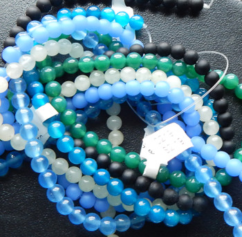 6mm Mix Round Beads 6 strands 14- 15 inch stone & glass J