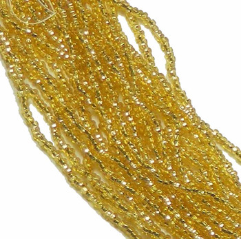 Straw Gold Silver Lined Preciosa Czech Glass 6/0 Seed Bead On Loose Strung 6 String Hank Sb6-1720