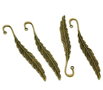 5 Beading Bookmarks Feather Antique Brass 4 1/2 Inch 2.8mm Hole Rb22871
