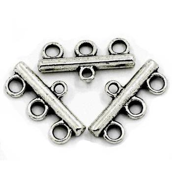 50 Antiqued Silver Connectors 3Strand Bridge End Bar 22x11mm 50Pcs Rb23152
