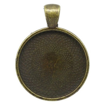 10 Antiqued Brass Plated Cabochon Setting Bezel Cup 28mm Outside (25mm Inside Cup), Sold Per Pack of 10