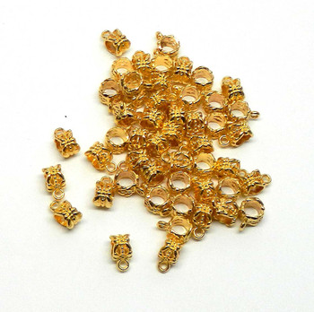 100 Gold Plated Zink Dangle Hanger Bail 8x6mm Tube Dragonfly 4mm Hole Rb04064-100