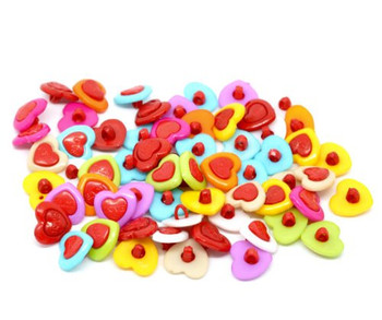 200 Mixed Colors Acrylic Heart Sewing Shank Buttons Scrapbooking 15mm, Sold Per Pack Of 200 Rb10695