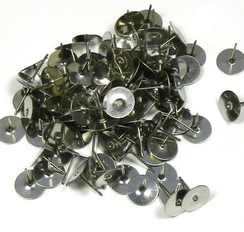400 8mm Flat Pad Basic 12mm Post Earring Finding Package of 200 Pair (Plus Bonus Rubber Earnuts)