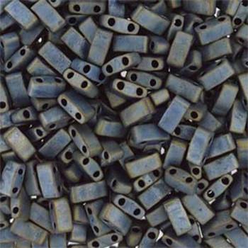 Metallic Silver Grey Matte Half Tila Beads 7.2 Gram Miuki Square 5mm 2 Hole Tlh2002-Tb