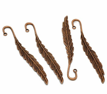 5 Beading Bookmarks Feather Antique Copper 4 1/2 Inch 2.8mm Hole Rb12699
