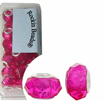 24 Fuchsia Pink Beads Faceted Glass Large 4.5-5mm Hole Rb37276