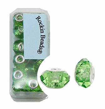 24 Medium Green Beads Faceted Glass Large 4.5-5mm Hole