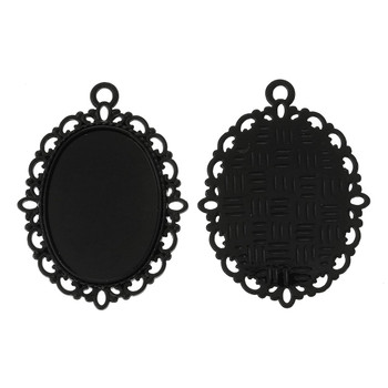 10 Black Plated Zinc Oval Cabochon Setting Pendant 39x29mm Fit 25x18mm Cab Rb37371